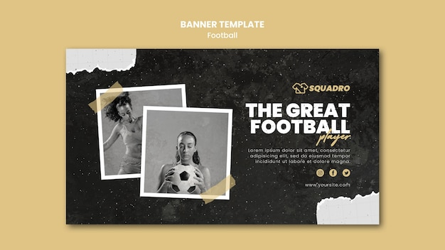 Banner template for female football player
