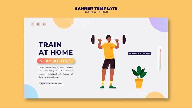 Modello di banner per l'allenamento fitness a casa