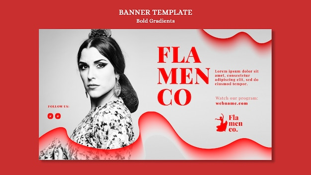 Banner template for flamenco show with female dancer