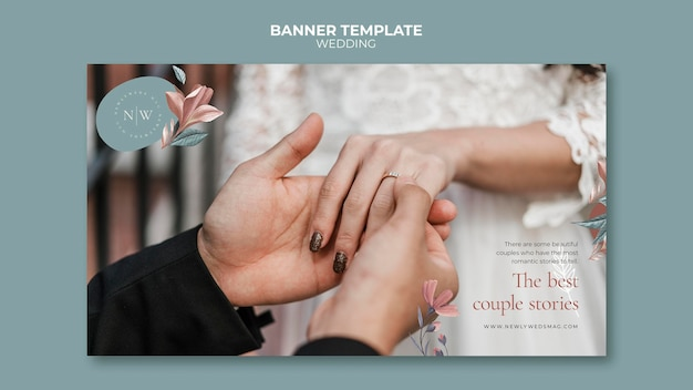 Banner template for floral wedding