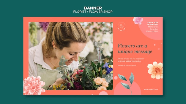 Banner template for flower shop business