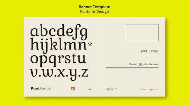 Banner template for fonts and design