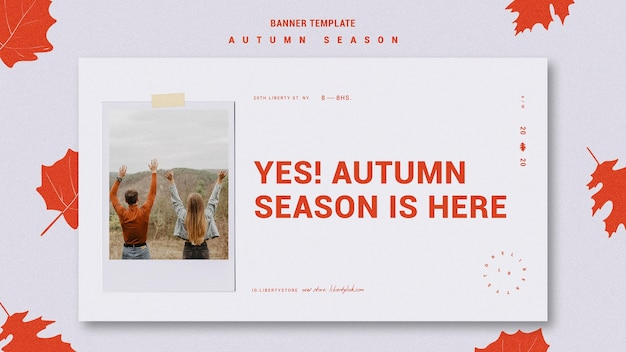 가을 새 의류 컬렉션 배너 템플릿