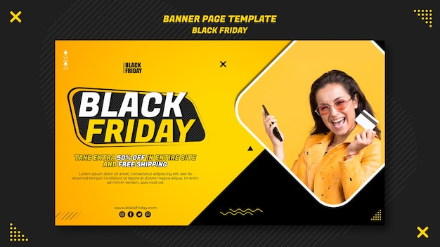 Шаблон баннера для оформления черной пятницы
