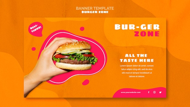 Шаблон баннера для бургерного ресторана