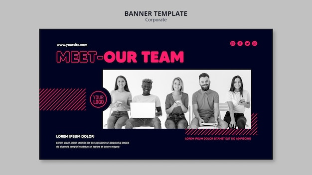 ビジネスチームのバナーテンプレート