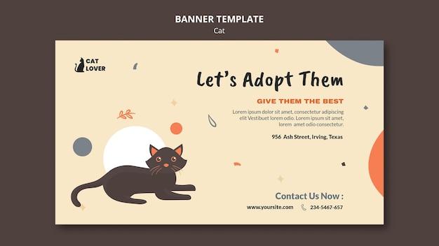 고양이 입양을위한 배너 템플릿