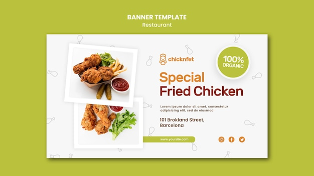 프라이드 치킨 요리 레스토랑 배너 템플릿