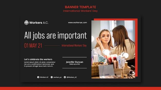 국제 노동자의 날 축하 배너 템플릿