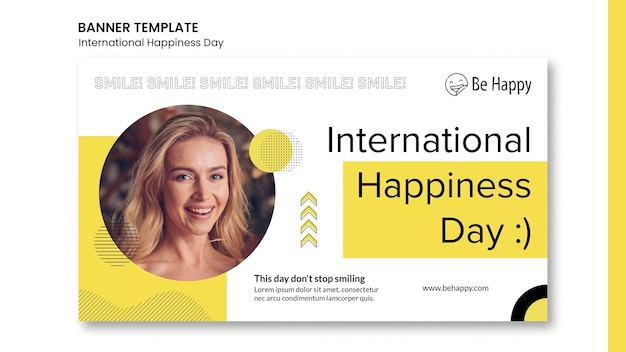 국제 행복의 날 배너 서식 파일