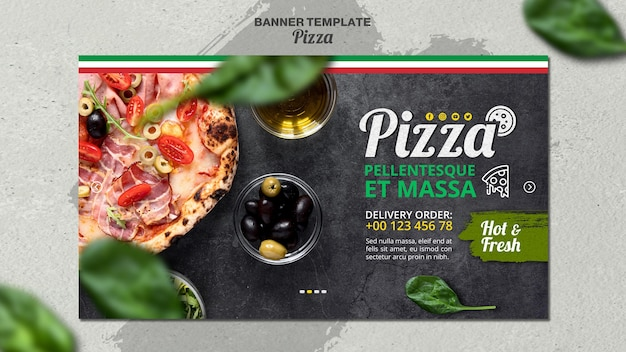 イタリアのピザレストランのバナーテンプレート