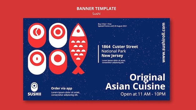 스시와 일본 음식 축제 배너 서식 파일