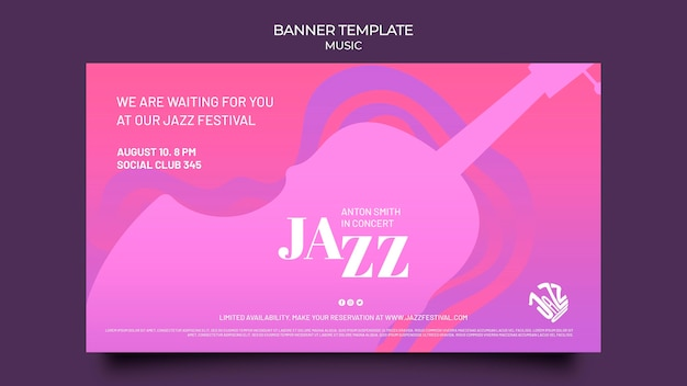 재즈 페스티벌 및 클럽 배너 템플릿