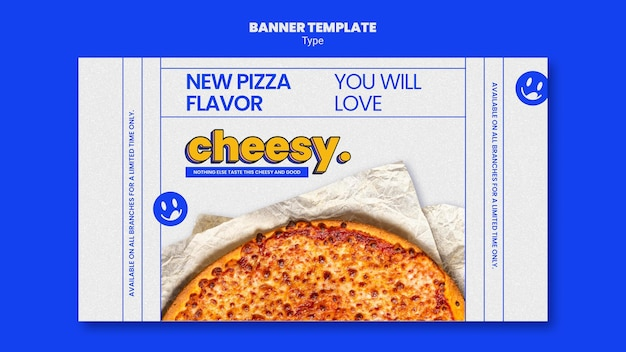 새로운 치즈 피자 맛을위한 배너 템플릿