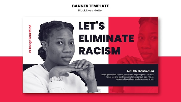人種差別と暴力のバナーテンプレート