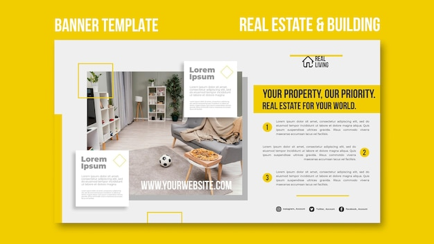 Шаблон баннера для недвижимости и строительства