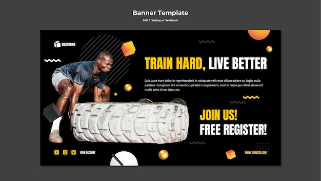 자기 훈련 및 운동을위한 배너 템플릿