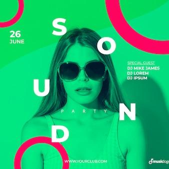 Шаблон баннера для звукового фестиваля Бесплатные Psd