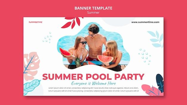 수영장에서 여름 재미를위한 배너 서식 파일