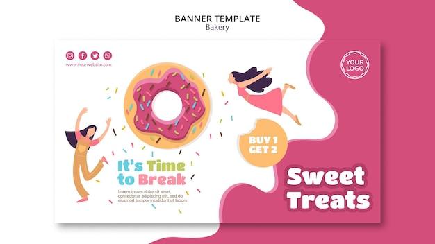 달콤한 구운 도넛을위한 배너 서식 파일