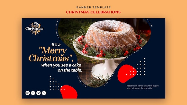 伝統的なクリスマスデザートのバナーテンプレート
