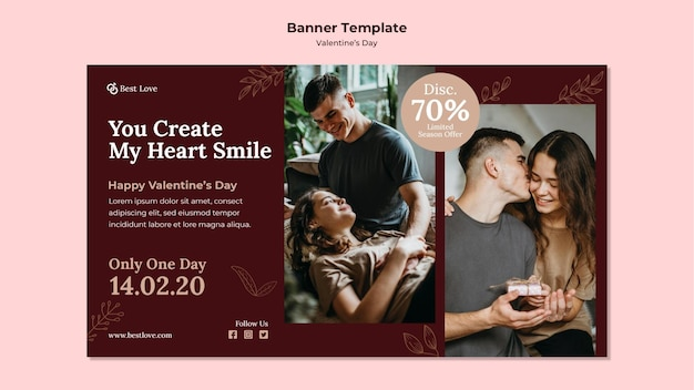 ロマンチックなカップルとバレンタインデーのバナーテンプレート