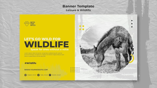 야생 동물 및 환경 보호를위한 배너 템플릿