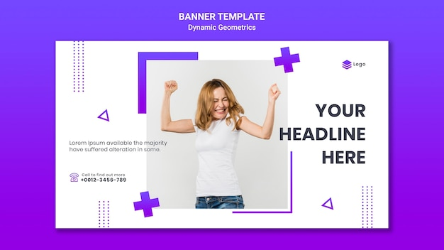 Banner template for free theme with dynamic geometrics