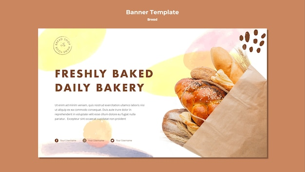 Banner template freshly baked daily bakery