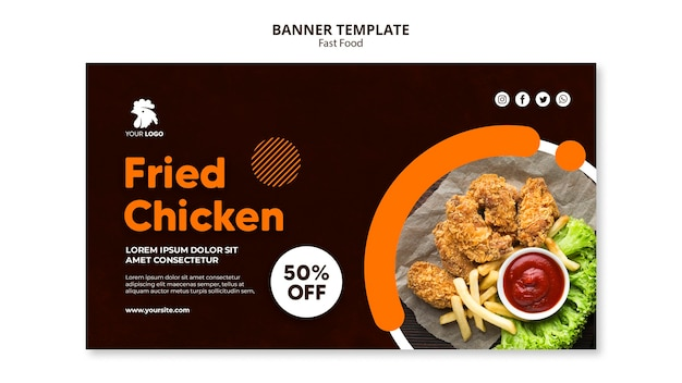 Banner template for fried chicken restaurant