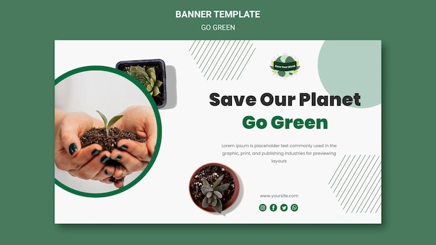 Banner template for going green and eco-friendly