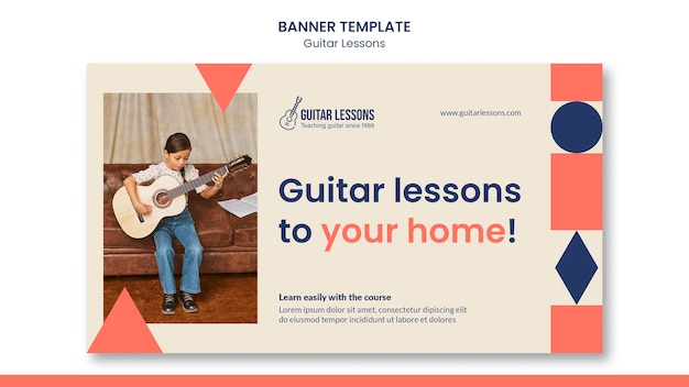 Banner template for guitar lessons