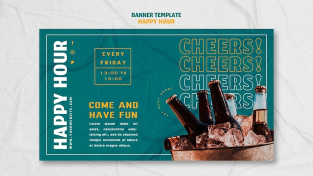 Modello di banner per l'happy hour