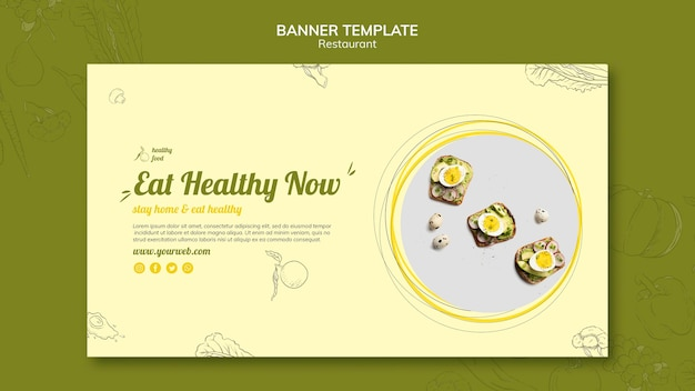 Banner template for healthy breakfast with sandwiches