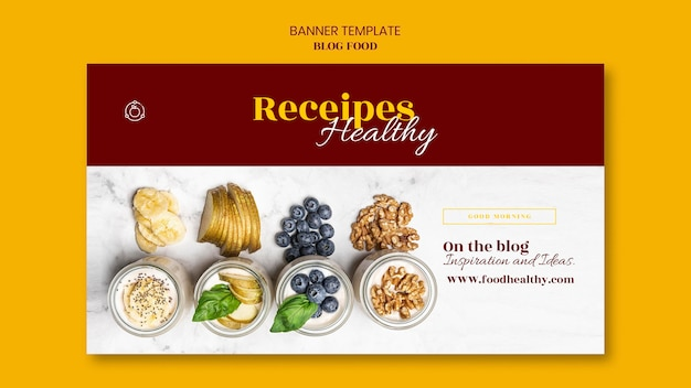 Banner template for healthy food recipes blog