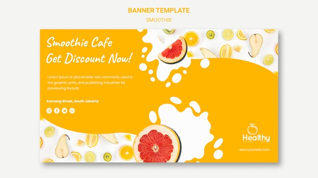 Banner template for healthy fruit smoothies