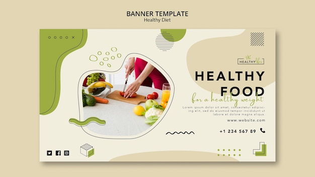 Banner template for healthy nutrition