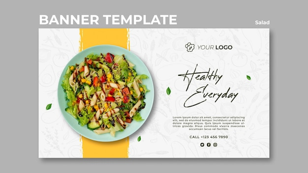 Banner template for healthy salad lunch