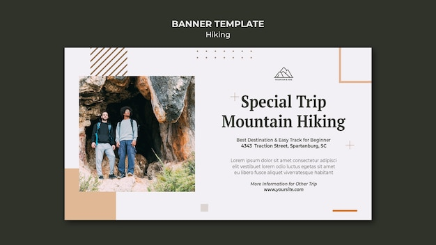 Banner template for hiking in nature