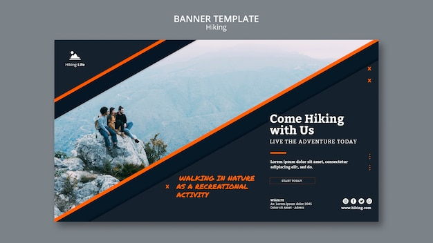 Banner template of hiking theme