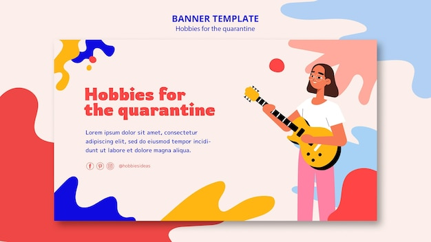 Banner template for hobbies during quarantine