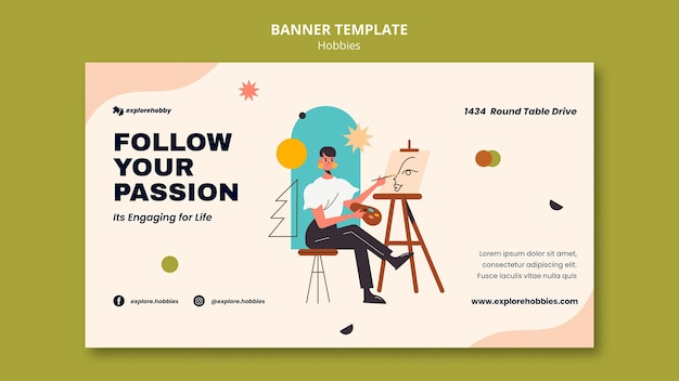 Banner template for hobbies and passions