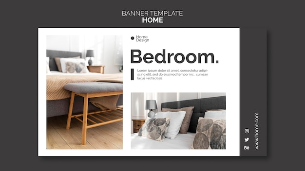 Banner template for home interior design with furniture