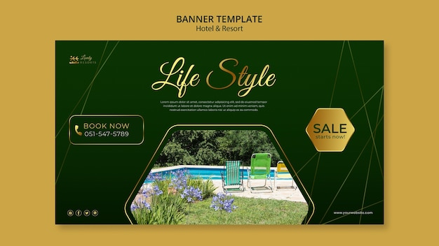 Banner template for hotel and resort
