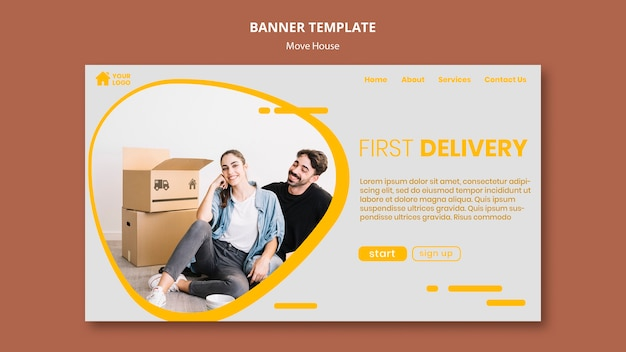 Banner template for house moving company