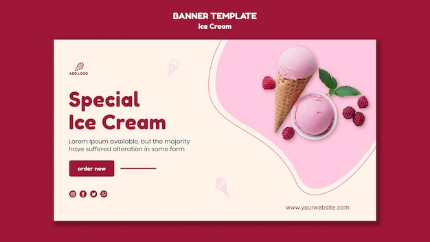 Banner template ice cream shop
