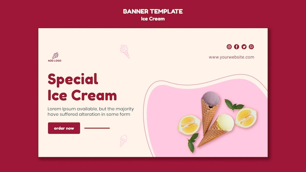 Banner template ice cream