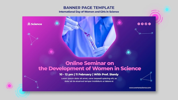 Banner template for internation day of women and girls in science celebration with female scientist