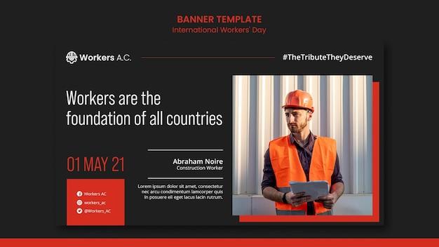 Modello di banner per la celebrazione del giorno dei lavoratori internazionali