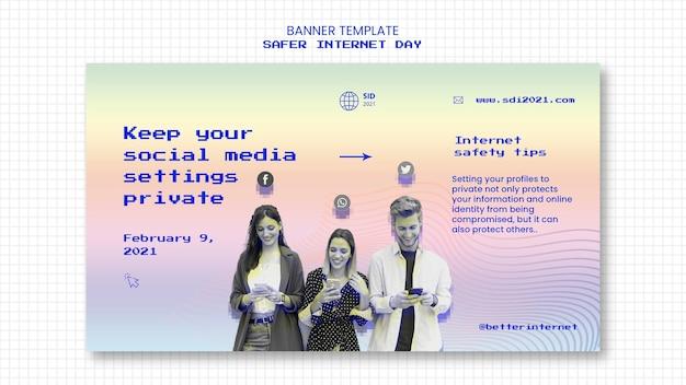 Banner template for internet safer day awareness